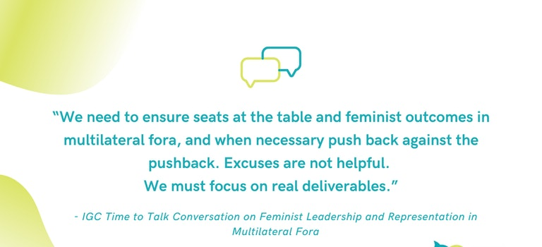 Time to Talk: Reflections on Effective Feminist Leadership and Representation in Multilateral Fora