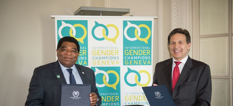 On Women's Week, Martin Chungong and Ambassador Christian Dussey formalise their collaboration in the context of the International Gender Champions