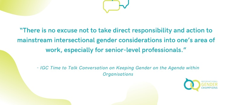 Keeping Gender on the Agenda within Organisations: Time to Talk session on Mainstreaming